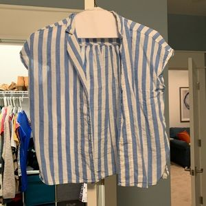 blue and white striped button down shirt